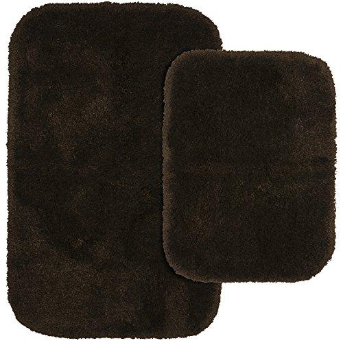 Garland Rug 2-Piece Finest Luxury Ultra Plush Washable Nylon Bathroom Rug Set, Chocolate