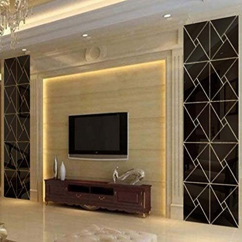 Wall Décor 3D Mirror Wall Stickers, 4 Pcs Acrylic Square Geometric Pattern DIY Art Decal, Self Adhesive Mirror Plastic Wall Sheet Tiles Home Decoration for Living Room Bedroom Stair Wall Decor