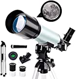 Telescopio astronómico para principiantes, telescopio catadióptrico para niños de 50 mm, telescopio National Geographic HD 90X, con trípode + lente Barlow 1.5X + filtro lunar, para estudiantes niños a