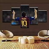 Leinwand Gemälde dekoration HD Drucke Poster Rahmen Für Wohnzimmer 5 Stücke Sport Lionel Messi Bilder Wandkunst - 30x40cmx2 30x60cmx2 30x80cmx1