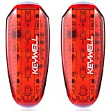 KEYWELL USB Rechargeable LED Safety Lights (2 Pack) - Clip on Strobe Running Lights for Runners, Joggers,Walkers,Kids,Dogs,Bike Tail Lights - High Visibility Accessories for Reflective Gear (Red)