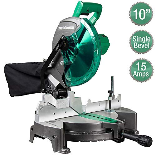 Metabo HPT Compound Miter Saw 10Inch Single Bevel 15Amp Motor 052° Miter Angle Range 045° Bevel Range Large Table 10quot 24T TCT Miter Saw Blade C10FCGS
