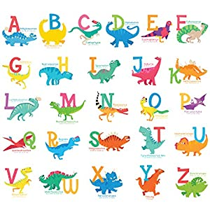DECOWALL DS-8033 A-Z Dinosaur Alphabet Kids Wall Stickers Wall Decals Peel and Stick Removable Wall Stickers for Kids Nursery Bedroom Living Room (Small) décor