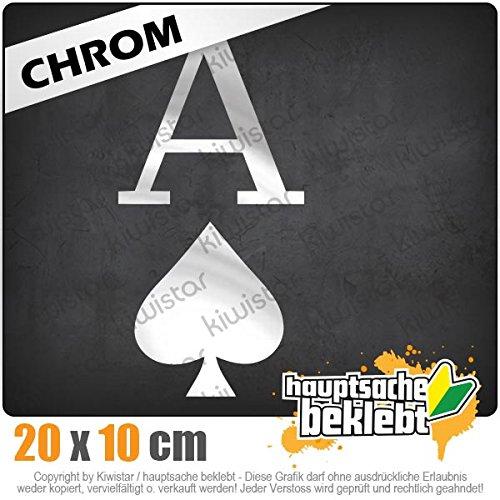 Kiwistar Pik Ass Spielkarte 10 x 20 cm IN 15 Farben - Neon + Chrom! Sticker Aufkleber