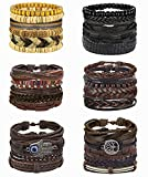 Florideco 30Pcs Braided Leather Bracelets Set for Men Women Woven Cuff Wrap Bracelet Ethnic Tribal Wooden Beads Bracelets Adjustable