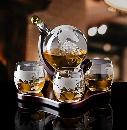 Attractive Home Bar Décor 5 pc Whiskey/Wine Globe Decanter Set, World Etched Bottle with 4 Premium Glass Cups on Attractive Mahogany Wood Stand. - THE PERFECT PRESENT -