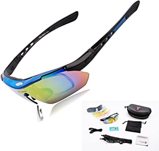 WOLFBIKE Polarized Cycling Sunglasses Outdoor Sports Bicycle Sun Glasses Bike Sunglasses Running Driving Racing Ski Goggles Eyewear Cool with Exchangeable 5 Lens Blue Frame