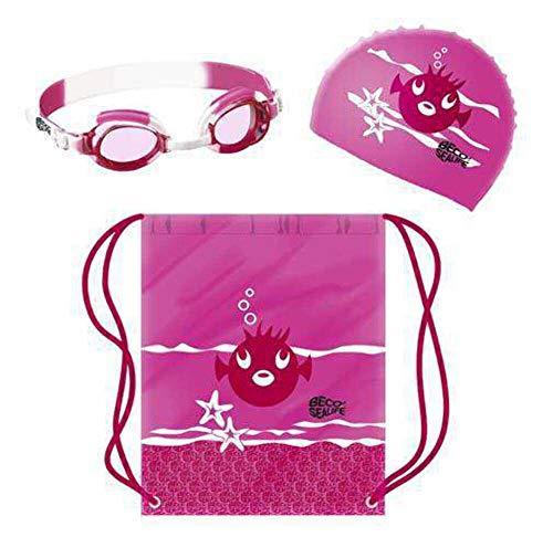 beco 96054 Sealife Schwimmset für Kinder Badekappe, Schwimmbrille und Schwimbeutel, Rosa