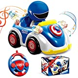 Remote Control Cartoon Car, 2.4GHz Radio Control RC Race Car for Toddlers with Music and Lights, Learning Toys Birthday Gift for 1-3 Years Old Babys