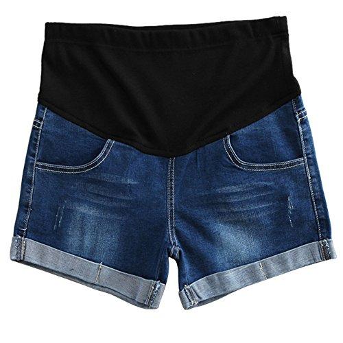 Hzjundasi Premamá mamá Vaqueros Shorts Denim Pantalones Suave Elástica para Mujer