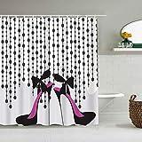 RUBEITA Cortina de Ducha Impermeable,Zapato Glamour Tacones Altos Hermosos Forma Chica Abstracta Estilete Cepillo Gráfico Femenino Moderno,Cortinas de baño con 12 Ganchos,tamaño 180 x 210cm