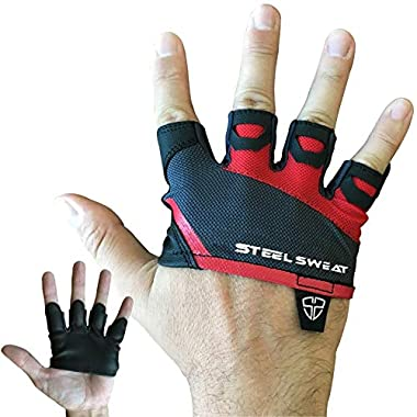 Steel Sweat Gym Gloves - Crossfit WOD Workout - Weight Lifting Gloves to Protect Your Palms Men & Women - Skins (Red, Medium)