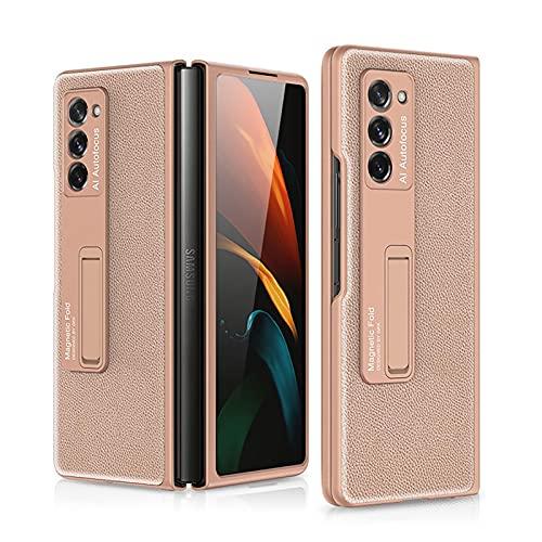 XJZ Kompatibel mit Samsung Galaxy Z Fold 2-5G Smartphone Hülle(2020)+3D Panzerglas/Premium Leder Flip Schutzhülle Ultra Dünn Brieftasche Hülle Standfunktion Handyhülle für Galaxy Z Fold 2-Rosé Gold