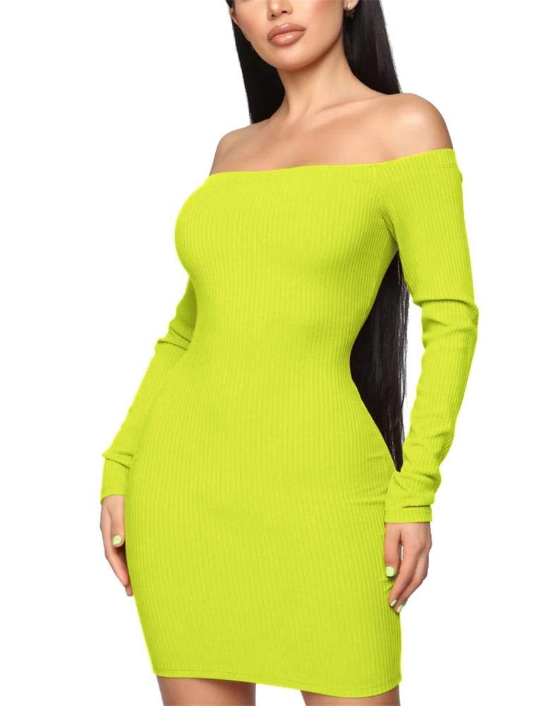 Available at Amazon: Remelon Off Shoulder Dresses for Women Cocktail - Long Sleeves Casual Fall Mini Dress Sexy Bodycon Club Cotton Party Dresses