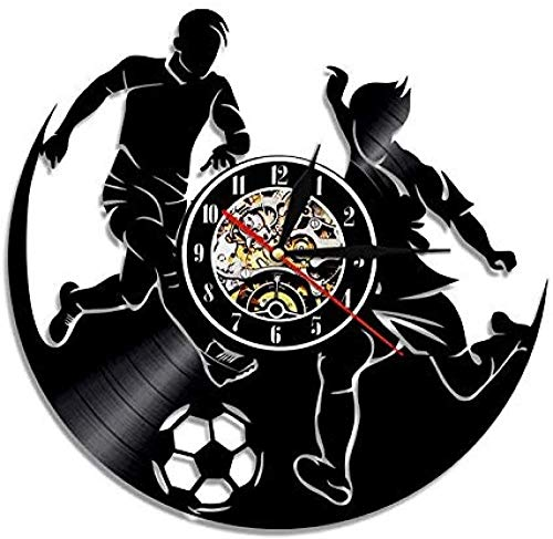 Reloj de Pared de Vinilo Reloj de Pared con Disco de Vinilo de fútbol Diseño de Juego Deportivo Reloj de decoración del hogar Retro Hecho a Mano Reloj de Hombre S