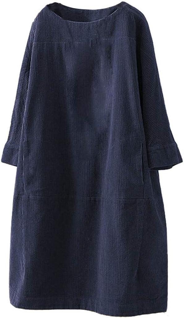 iQKA Women's Plus Size Shirt Dress Vintage Pockets Corduroy Solid Color Long Sleeve Loose Casual Dresses