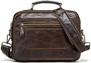 DIEBELLAU Leather Men's Shoulder Bag First Layer Cowhide European and American Wind Messenger Bag (Color : Coffee)