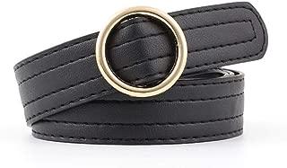 SGJFZD New Fashionable Popular Non-Porous Round Buckle Adjustable Belt Ladies Soft Belt Student Jeans Belt Tide (Color : Black, Size : 103 * 2.3cm)