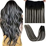 LaaVoo Secret Wire Real Hair Extensions Black Fish Line Hair Extension Human Hair Balayage Off Black Ombre Silver Fish Wire Hair Piece Black Wire Human Hair Extensions Salt and Pepper 80g 16'