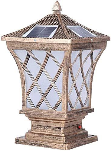 Bronce rústico Columna solar Post Luces al aire libre Aluminio E27 D Paisaje Post Lighting externo Impermeable Seguridad STIGMA Bolardo Luz Patio Terraza Césped Piscina Lámparas Pilares Torch