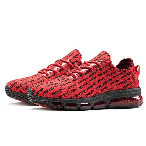 ONEMIX Zapatillas de Running para Hombre Transpirables Casual Zapatos Gimnasio Correr Sneakers 1236 Red Black 39