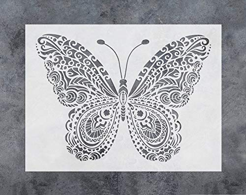 GSS Designs Butterfly Wall Decor Stencil - Mandala Butterfly Stencil (12x16 Inch) Painting on Floor Wall Fabric Furniture Wood Stencils -Reusable Template for Wall Decals Transfer(SL-024)