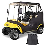10L0L 2 Passenger Golf Cart Enclosures for EZGO TXT with Security Side Mirror Openings, Waterproof Portable Transparent Golf Cart Cover Storage Driving Enclosure - 4-Sided (Roof up to 58' L)