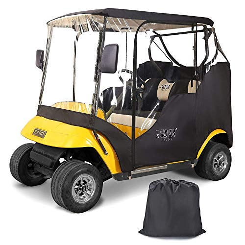 "10L0L Golf Cart Enclosures 2 Passenger for EZGO TXT, Waterproof Portable Transparent Golf Cart Cover Storage Driving Enclosure - 4-Sided (Roof up to 58"" L)"