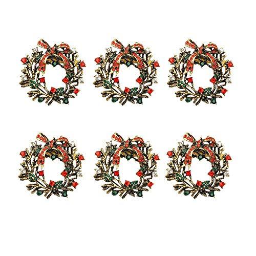 RecoverLOVE Portatovaglioli, Set di 6 portatovaglioli Natalizi in Oro 6/12 - Strass con Fibbia per tovagliolo per Decorazioni Natalizie Ringraziamento Portatovaglioli