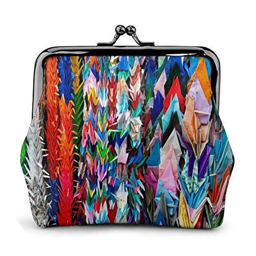Origami mehrfarbige Papierbastel-Kraniche, stilvolle und praktische Lederwechsel, ein Geschenk für Frauen.