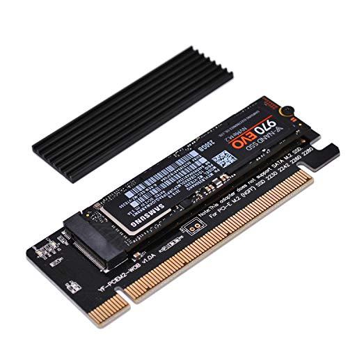 EZDIY-FAB Adaptador PCIe NVME,Adaptador M.2 NVME SSD a PCI Express con disipador de Calor,Solo admite Ranura PCIe x16,Soporte M.2 SSD 2230 2242 2260 2280