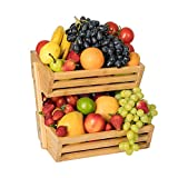 2-Tier Bamboo Bread Vegetable Fruit Basket Rack Stand Holder Bowl for Kitchen Counters, Home Storage Basket Display Tray for Fruit Vegetables Snacks Bread