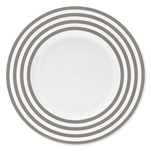 Bruno Evrard Assiette Plate à Rayures Taupe en Porcelaine 29cm - Lot de 6 - Freshness Lines