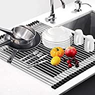 """Dish Drying Rack 17.6"""" x 16"""", G-TING Over Sink Roll Up Large Dish Drainers Rack, Multipurpose Foldable Kitchen Sink Rack Mat Stainless Steel with Silicone Rims for Dishes, Cups, Fruits Vegetables …"""