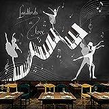 Papel pintado de pared personalizado Retro nostálgico Piano Graffiti Ballet Fondo 3D Pintura de pared Testillage Restaurante Café-150cmx105cm No tejido Premium Art Print Fleece Mural de pared Decoraci