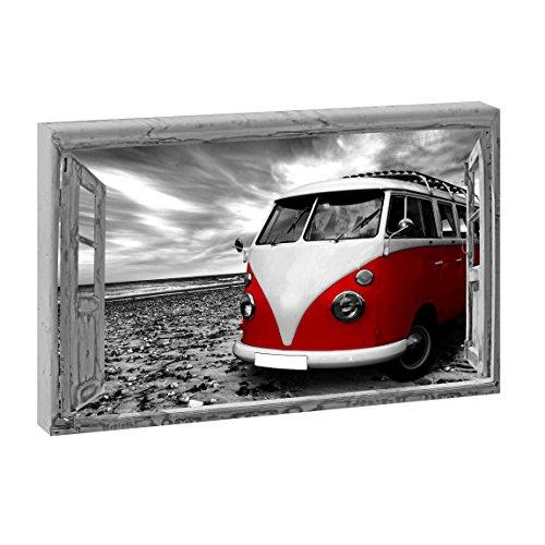 WTD - Imagen sobre lienzo con ventana (120 x 80 cm, marco de madera, 80 x 120 cm), diseño de playa con Bulli retro, color negro y rojo