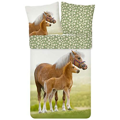 ESPiCO Bettwäsche Trendy Bedding Pferd Pony Fohlen Haflinger Koppel Blumen Blümchen Grün Braun Renforcé, Größe:135 cm x 200 cm