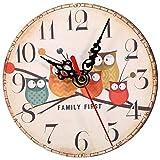 AUNMAS Reloj de Pared de Madera Redondo con patrón de búho Vintage Creativo Antiguo sin batería para decoración de Oficina en casa(22)