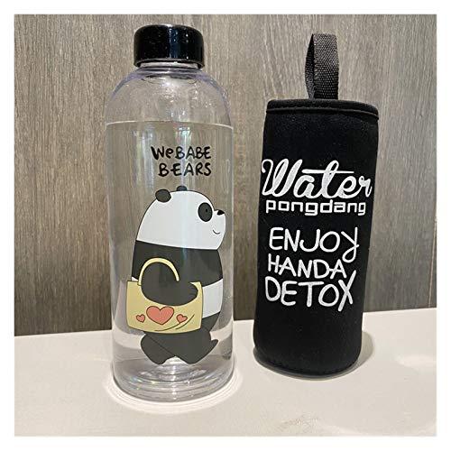 Taza de agua 1000ml botella de plástico dibujos animados helada taza de agua a prueba de fugas utensilios panda oso patrón deporte transparente beber agua botella ( Capacity : 1000ml , Color : 1 5 )
