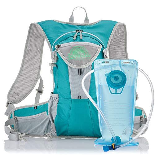 Splastle Lightweight Hydration Backpack 2L – Breathable Hydration Pack Water Bag Backpack Adjustable Locking Straps With Bladder Aqua Blue (Latest Model)