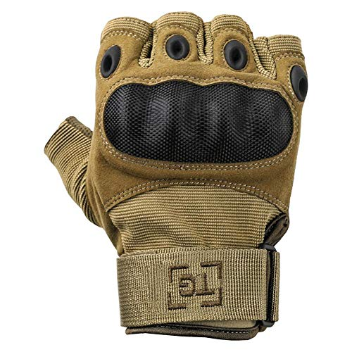 TG Hellfox Fingerless Tactical Gloves for Men Hard Knuckle for Military Police Combat Motorcycle Outdoors Camping Cycling Paintball (Coyote, Medium)