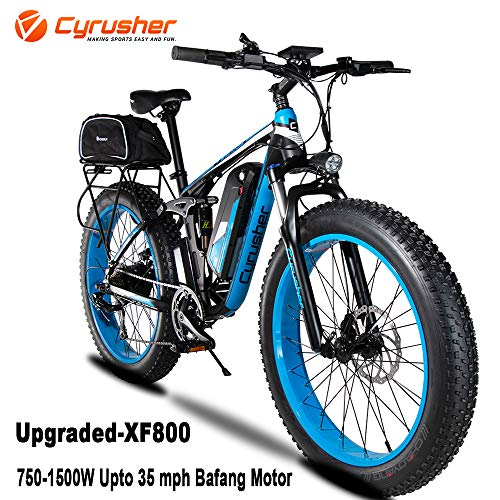 Cyrusher XF800 750W Electric Bike 264 Fat Tire Mountain Ebikes 7 Speeds Snow Beach Electric Bicycles with 13ah Battery and Bag Rack for Men (Blue)