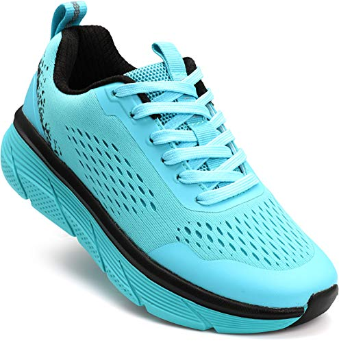 WHITIN Womens Running Shoes Runny Tennis Athletic Breathable Comfort Cushioned Cupportive Cute Flexible Mesh Classic Size 6.5 Long Distance Run Trail Runner Sneakers for Female Blue