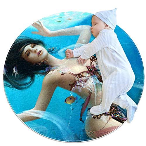 Vockgeng Belleza bajo el mar Colchoneta de Ejercicios Suave y cómoda Alfombra Redonda baño Sala de Estar Almohadilla Antideslizante para Decorar la habitación 80cm