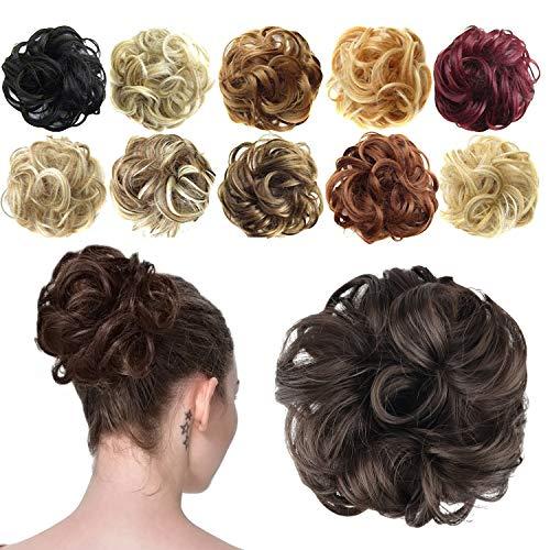 Preisvergleich Produktbild Feshfen Haargummi-Haarteil,  für Haarknoten / Pferdeschwanz,  Haarverlängerung,  gewellt,  unordentlicher Haarknoten,  Dutt,  Hochfrisur,  Haarteil,  A05 - Brown 4