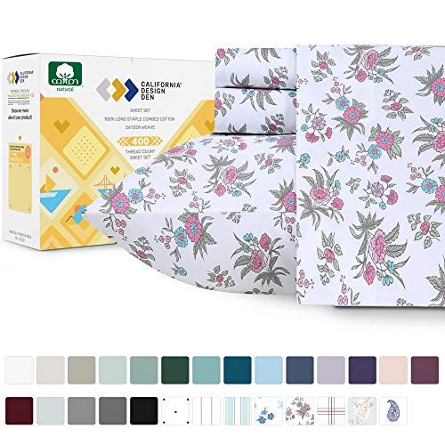 California Design Den 400-Thread-Count 100% Pure Cotton Sheets - 3 Piece Anthro Florals - Multicolor Twin XL Printed Bed Sheet Set, Long Staple Cotton Sateen Weave, Deep Pocket Fits Mattress 15''