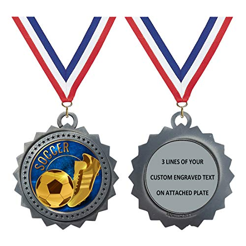 Custom Engraved Large 3 inch Die-Cast Metal Award Medallion with Antique Silver Finish and Attached 2 Inch Full Color Laminated Sport Insert.