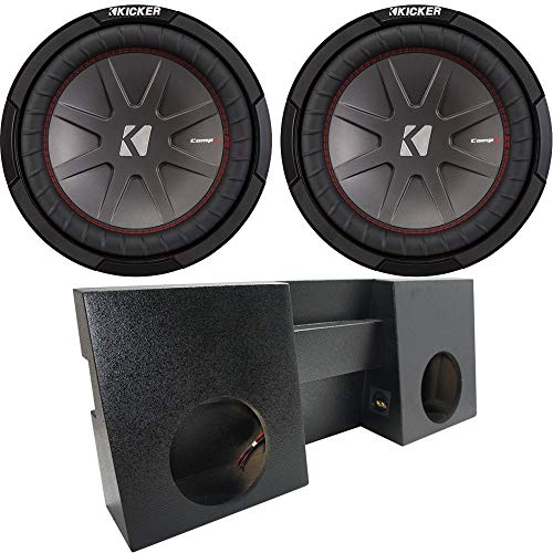 "Compatible with 2005-2015 Toyota Tacoma Double Cab Truck Kicker CompR CWR10 Dual 10"" Rhino Coated Sub Box Enclosure - Final 2 Ohm"