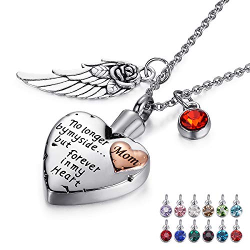 tiitc Heart Memorial Urn Necklaces for Ashes, Keepsake Cremation Necklace for Ashes, Cremation Jewelry for Ashes Necklace for Men and Women Necklace Ashes Holder (Mom)