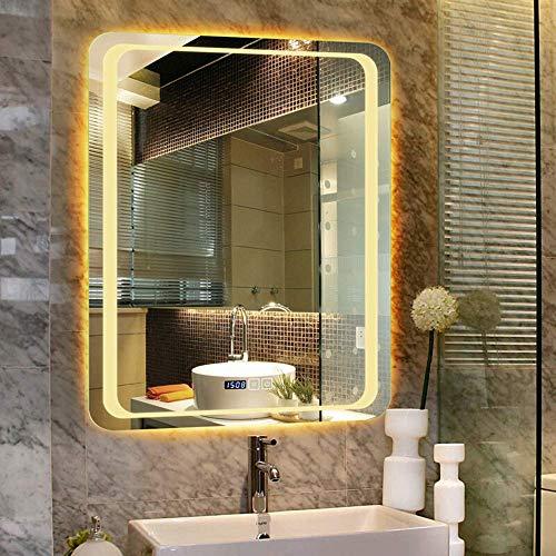 Oanzryybz Hohe Qualität Badezimmer-Spiegel Led Beleuchtet beleuchteter Make-up Vanity Kosmetik Wandaufbauleuchte bilden Rasieren Touch-Anti-Fog Vertikal (Color : Warm+Double Switch, Size : 60×80CM)